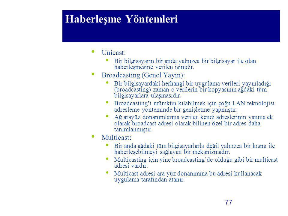 77 Haberleşme Yöntemleri Unicast: Bir bilgisayarın bir anda yalnızca bir bilgisayar ile olan haberleşmesine verilen isimdir. Broadcasting (Genel Yayın