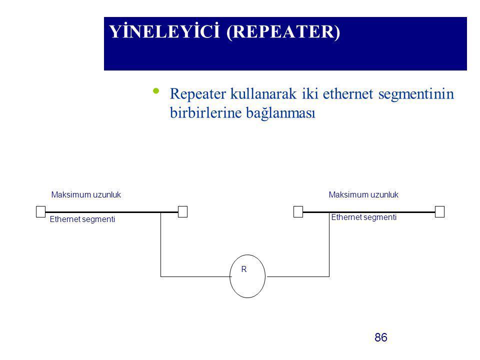 86 YİNELEYİCİ (REPEATER) Repeater kullanarak iki ethernet segmentinin birbirlerine bağlanması R Maksimum uzunluk Ethernet segmenti