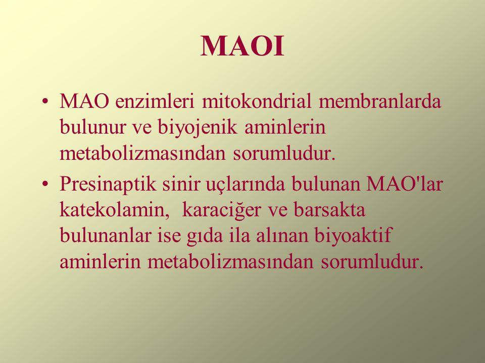 MAOI MAO enzimleri mitokondrial membranlarda bulunur ve biyojenik aminlerin metabolizmasından sorumludur. Presinaptik sinir uçlarında bulunan MAO'lar