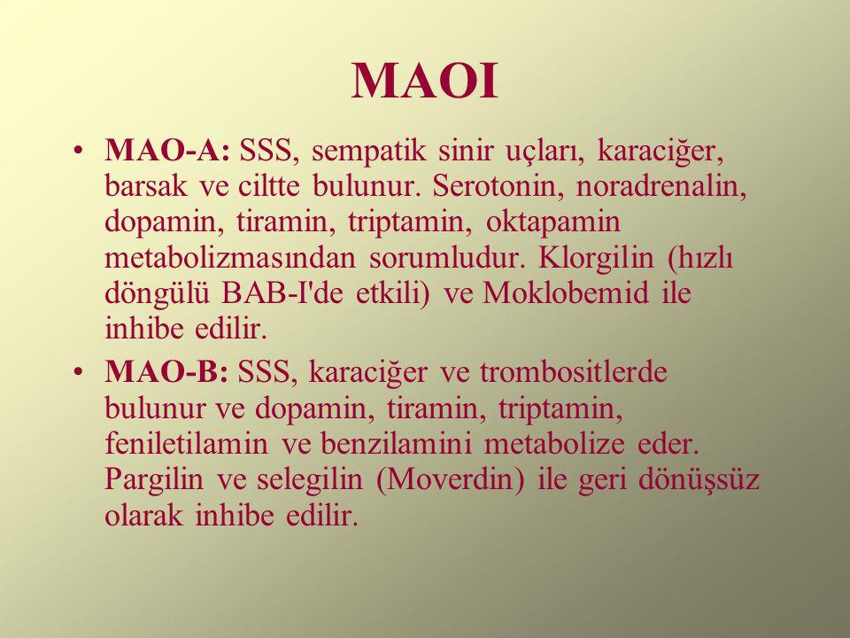 MAOI MAO-A: SSS, sempatik sinir uçları, karaciğer, barsak ve ciltte bulunur. Serotonin, noradrenalin, dopamin, tiramin, triptamin, oktapamin metaboliz