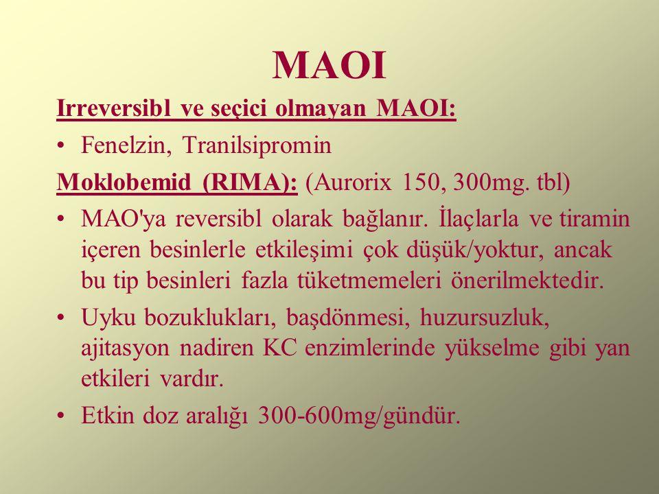 MAOI Irreversibl ve seçici olmayan MAOI: Fenelzin, Tranilsipromin Moklobemid (RIMA): (Aurorix 150, 300mg. tbl) MAO'ya reversibl olarak bağlanır. İlaçl