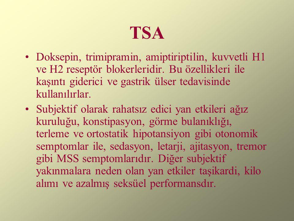 TSA Doksepin, trimipramin, amiptiriptilin, kuvvetli H1 ve H2 reseptör blokerleridir. Bu özellikleri ile kaşıntı giderici ve gastrik ülser tedavisinde