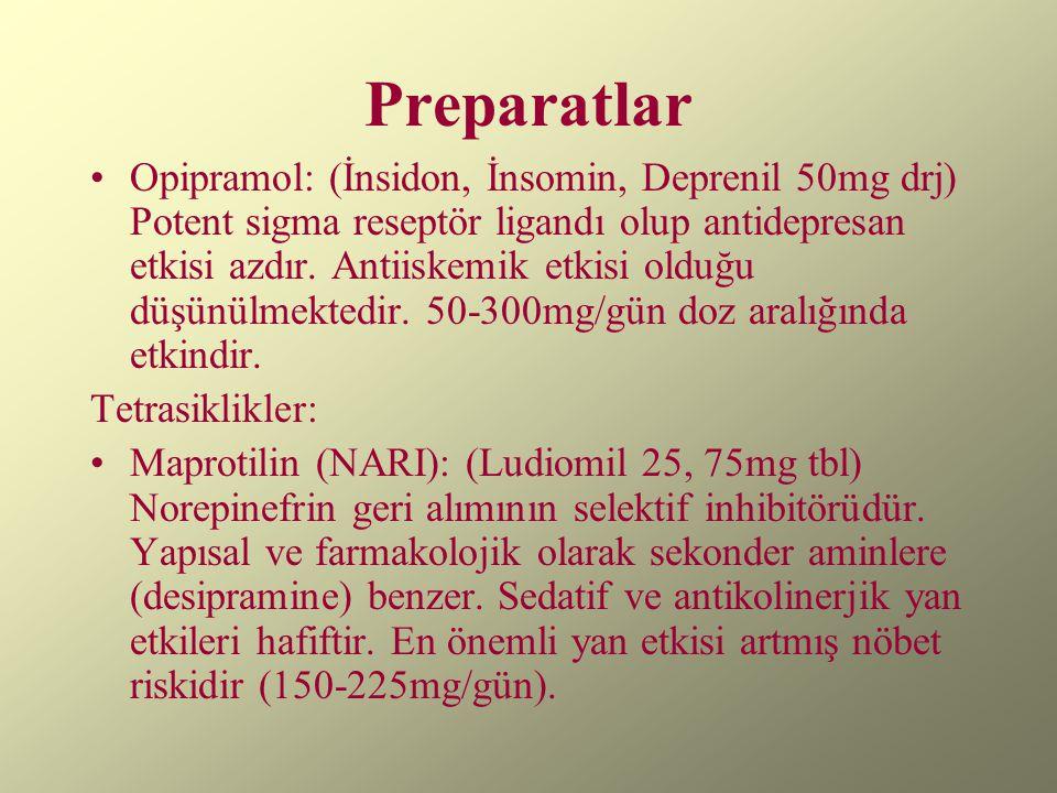 Preparatlar Opipramol: (İnsidon, İnsomin, Deprenil 50mg drj) Potent sigma reseptör ligandı olup antidepresan etkisi azdır. Antiiskemik etkisi olduğu d