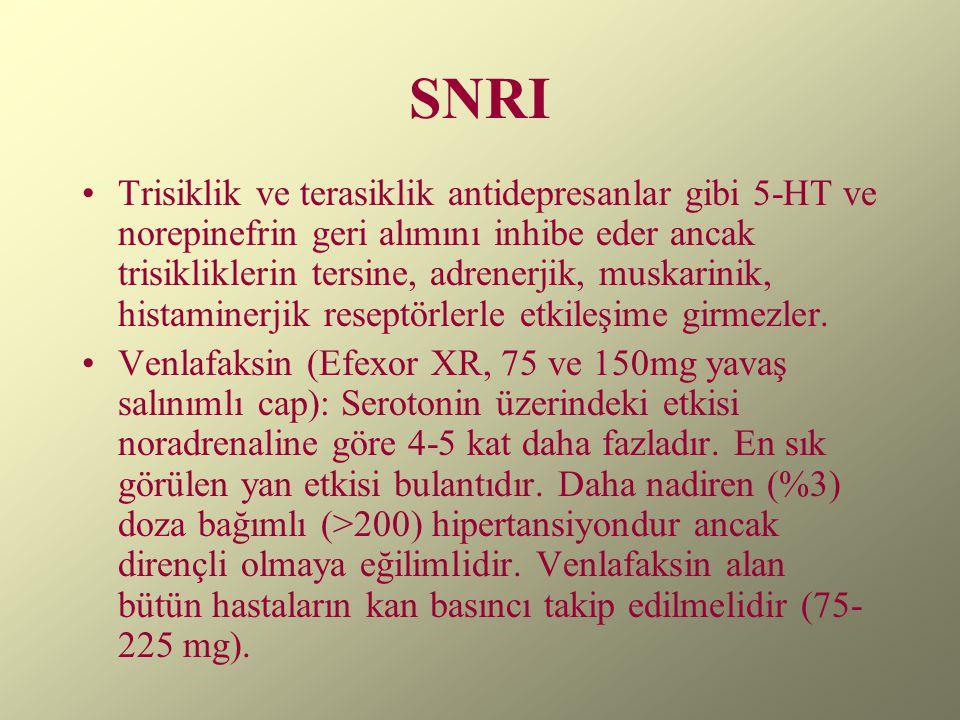 SNRI Trisiklik ve terasiklik antidepresanlar gibi 5-HT ve norepinefrin geri alımını inhibe eder ancak trisikliklerin tersine, adrenerjik, muskarinik,