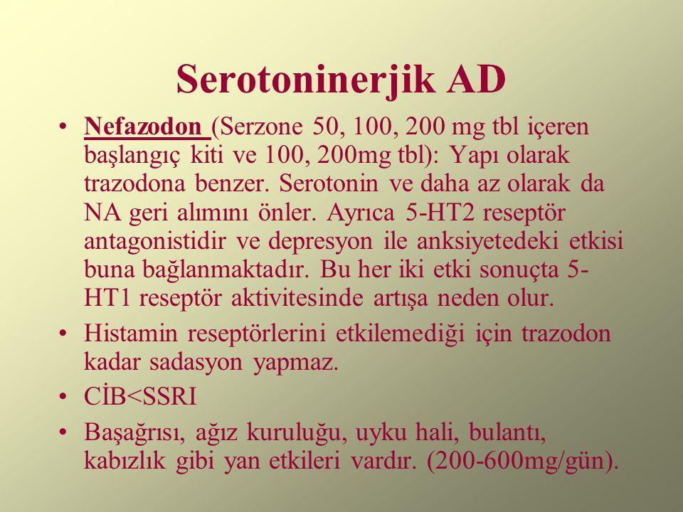 Serotoninerjik AD Nefazodon (Serzone 50, 100, 200 mg tbl içeren başlangıç kiti ve 100, 200mg tbl): Yapı olarak trazodona benzer. Serotonin ve daha az