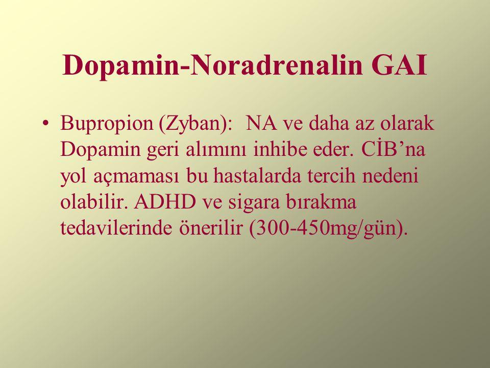 Dopamin-Noradrenalin GAI Bupropion (Zyban): NA ve daha az olarak Dopamin geri alımını inhibe eder. CİB'na yol açmaması bu hastalarda tercih nedeni ola