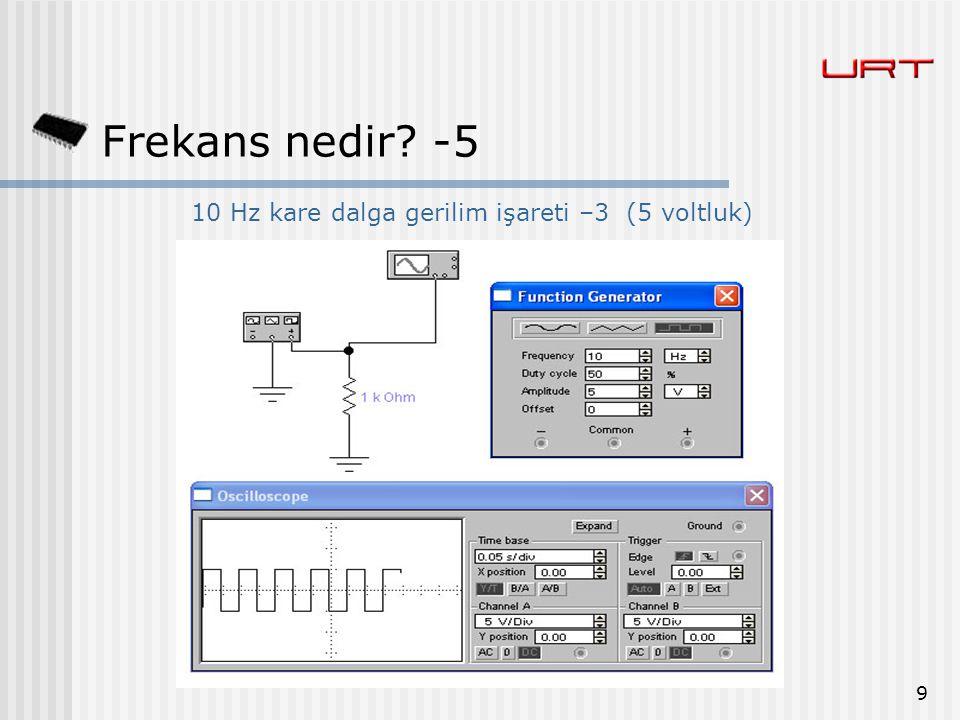 9 Frekans nedir? -5 10 Hz kare dalga gerilim işareti –3 (5 voltluk)