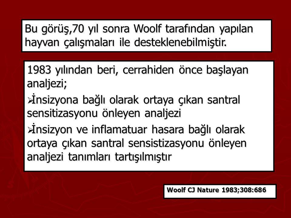 Bu görüş,70 yıl sonra Woolf tarafından yapılan hayvan çalışmaları ile desteklenebilmiştir. 1983 yılından beri, cerrahiden önce başlayan analjezi;  İn