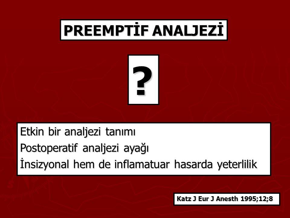 Etkin bir analjezi tanımı Postoperatif analjezi ayağı İnsizyonal hem de inflamatuar hasarda yeterlilik PREEMPTİF ANALJEZİ ? Katz J Eur J Anesth 1995;1