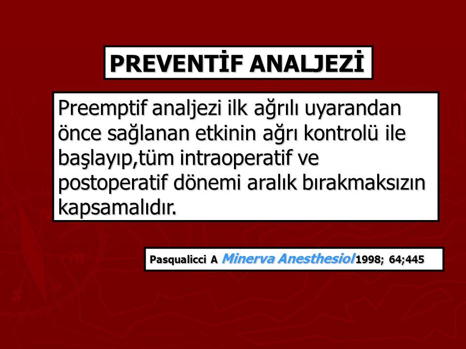 PREVENTİF ANALJEZİ Preemptif analjezi ilk ağrılı uyarandan önce sağlanan etkinin ağrı kontrolü ile başlayıp,tüm intraoperatif ve postoperatif dönemi a