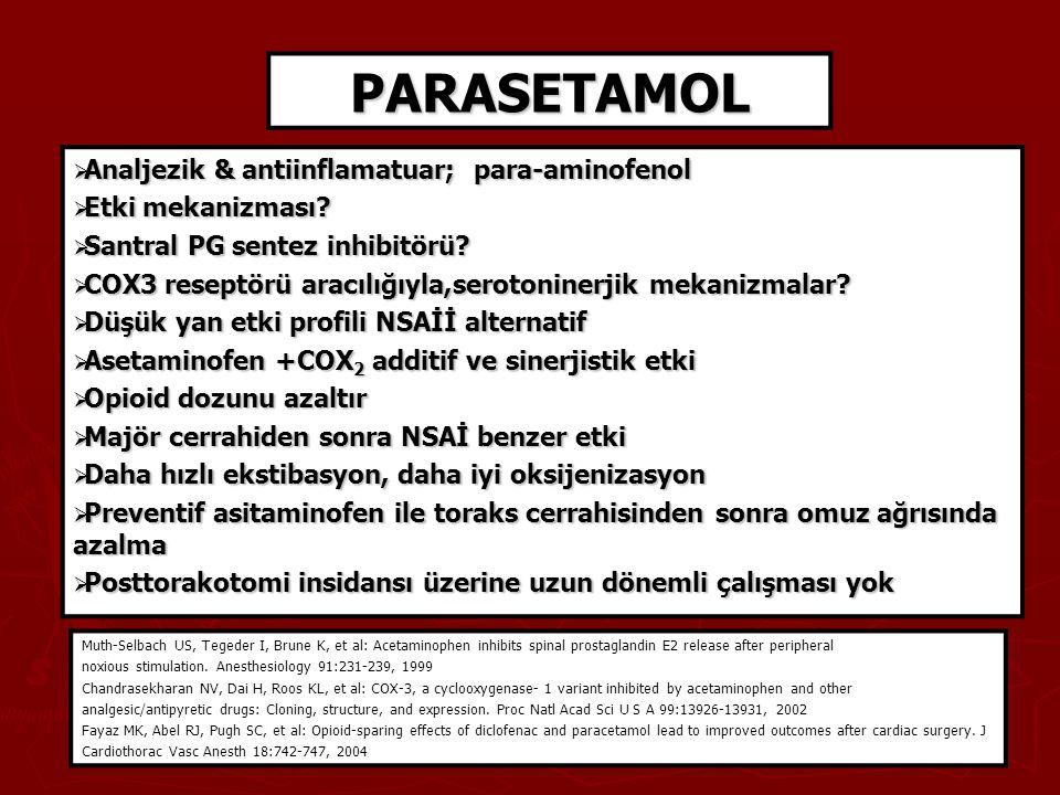 PARASETAMOL  Analjezik & antiinflamatuar; para-aminofenol  Etki mekanizması?  Santral PG sentez inhibitörü?  COX3 reseptörü aracılığıyla,serotonin