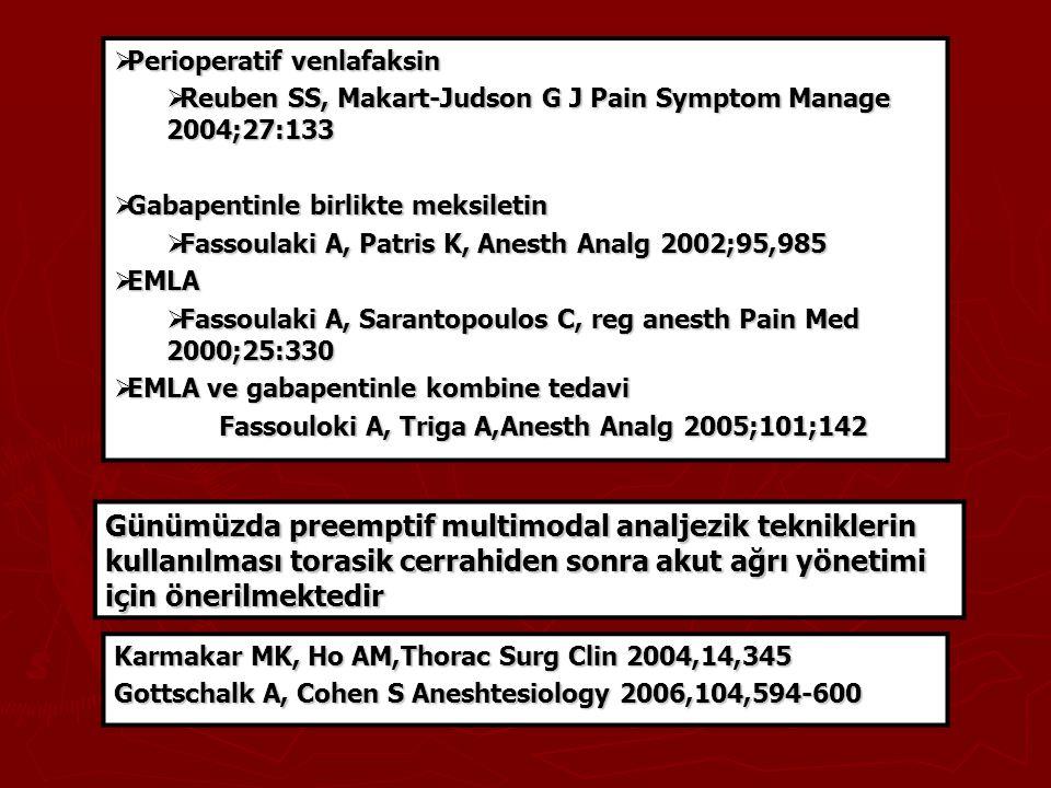  Perioperatif venlafaksin  Reuben SS, Makart-Judson G J Pain Symptom Manage 2004;27:133  Gabapentinle birlikte meksiletin  Fassoulaki A, Patris K,