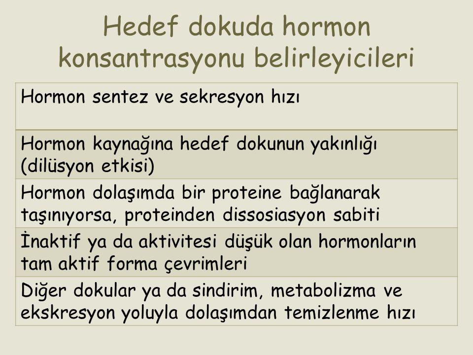 Hedef dokuda hormon konsantrasyonu belirleyicileri Hormon sentez ve sekresyon hızı Hormon kaynağına hedef dokunun yakınlığı (dilüsyon etkisi) Hormon d