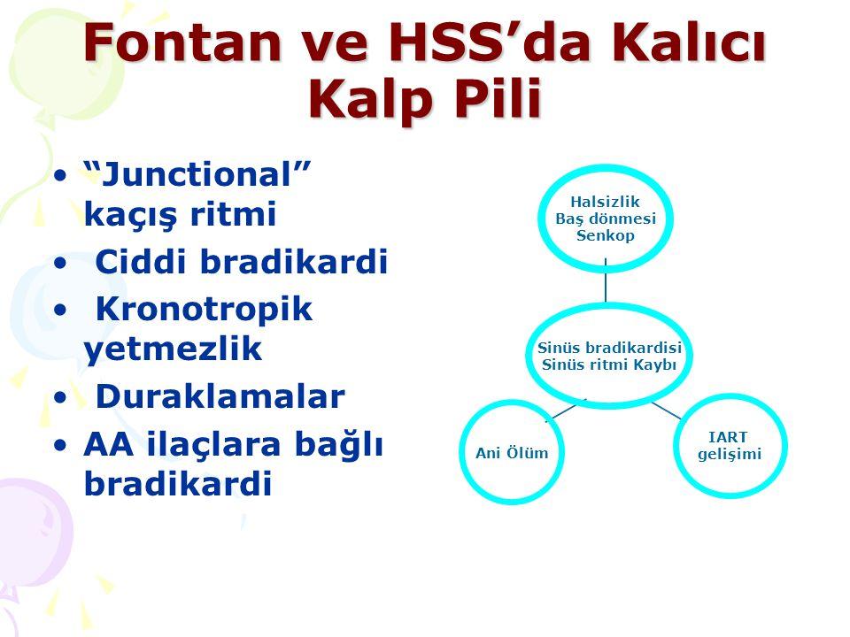 """Fontan ve HSS'da Kalıcı Kalp Pili """"Junctional"""" kaçış ritmi Ciddi bradikardi Kronotropik yetmezlik Duraklamalar AA ilaçlara bağlı bradikardi Sinüs brad"""