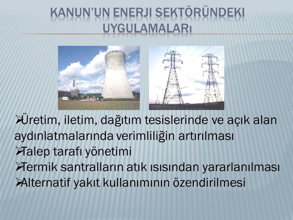  Üretim, iletim, dağıtım tesislerinde ve açık alan aydınlatmalarında verimliliğin artırılması  Talep tarafı yönetimi  Termik santralların atık ısısından yararlanılması  Alternatif yakıt kullanımının özendirilmesi