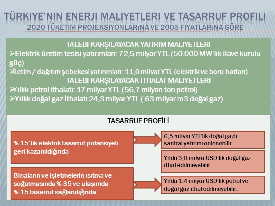 TALEBİ KARŞILAYACAK YATIRIM MALİYETLERİ  Elektrik üretim tesisi yatırımları: 72,5 milyar YTL (50.000 MW'lık ilave kurulu güç)  İletim / dağıtım şebekesi yatırımları: 11,0 milyar YTL (elektrik ve boru hatları) TALEBİ KARŞILAYACAK İTHALAT MALİYETLERİ  Yıllık petrol ithalatı: 17 milyar YTL (56,7 milyon ton petrol)  Yıllık doğal gaz İthalatı 24,3 milyar YTL ( 63 milyar m3 doğal gaz) TASARRUF PROFİLİ % 15'lik elektrik tasarruf potansiyeli geri kazanıldığında 6,5 milyar YTL'lik doğal gazlı santral yatırımı önlenebilir Yılda 3,0 milyar USD'lık doğal gaz ithal edilmeyebilir.
