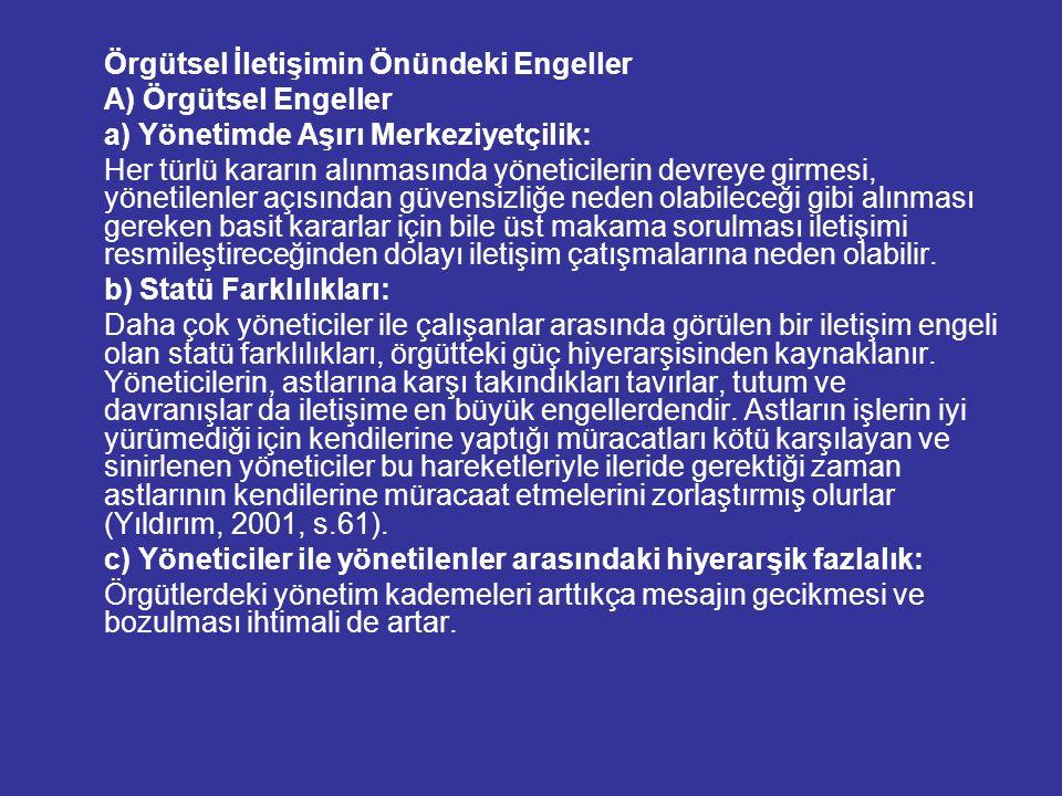 Örgütsel İletişimin Önündeki Engeller A) Örgütsel Engeller a) Yönetimde Aşırı Merkeziyetçilik: Her türlü kararın alınmasında yöneticilerin devreye gir