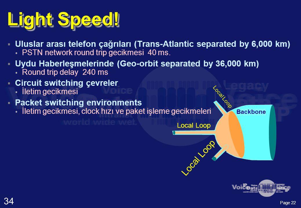 34 Page 22  Uluslar arası telefon çağrıları (Trans-Atlantic separated by 6,000 km)  PSTN network round trip gecikmesi 40 ms.