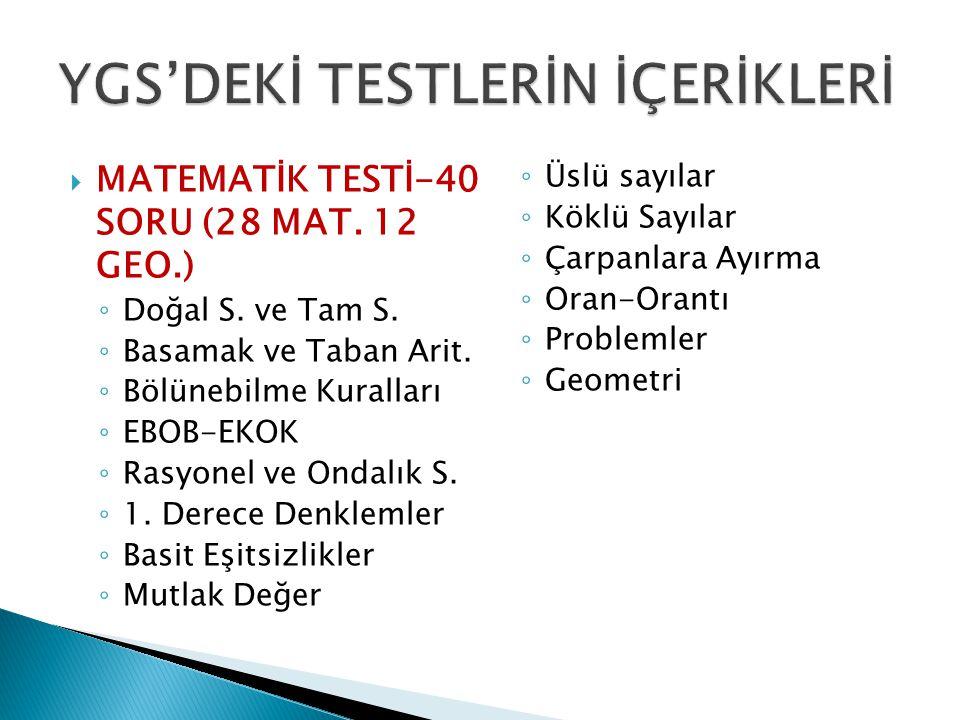  MATEMATİK TESTİ-40 SORU (28 MAT. 12 GEO.) ◦ Doğal S.