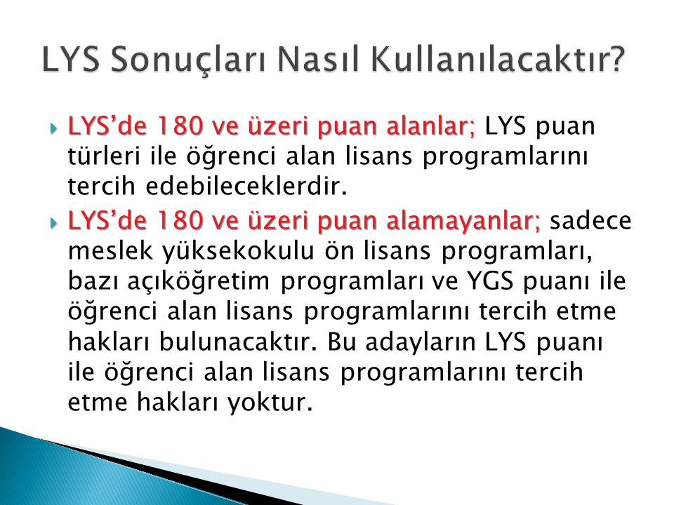  LYS'de 180 ve üzeri puan alanlar;  LYS'de 180 ve üzeri puan alanlar; LYS puan türleri ile öğrenci alan lisans programlarını tercih edebileceklerdir.