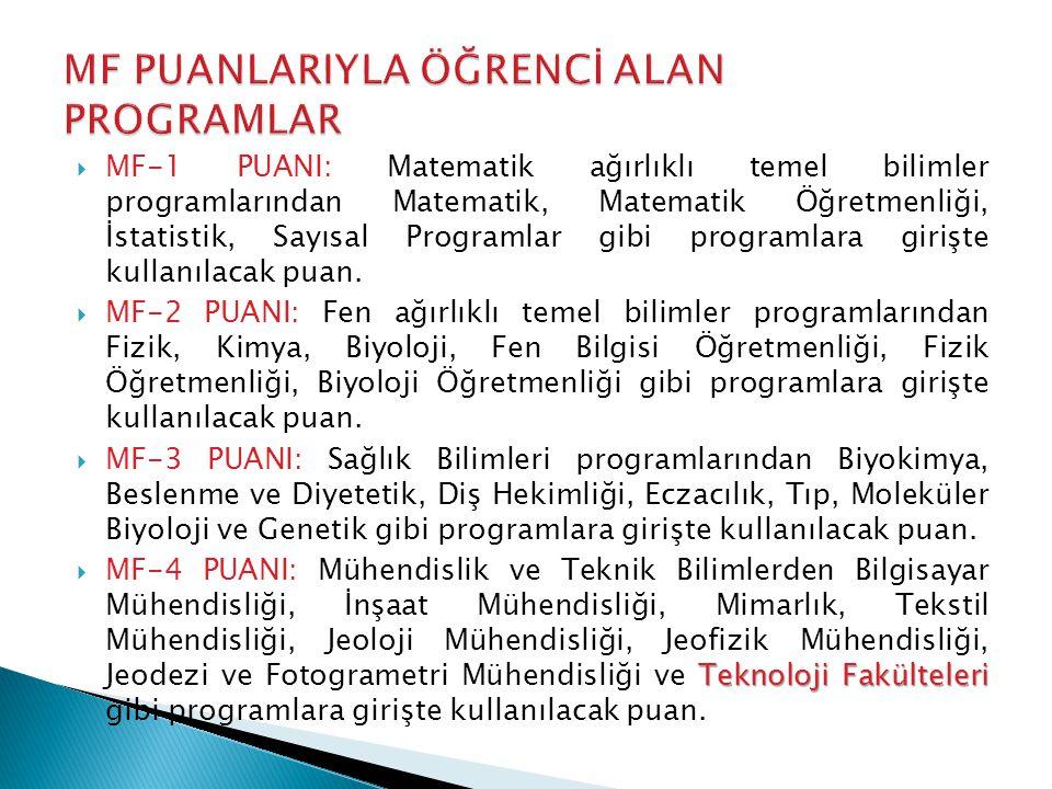  MF-1 PUANI: Matematik ağırlıklı temel bilimler programlarından Matematik, Matematik Öğretmenliği, İstatistik, Sayısal Programlar gibi programlara girişte kullanılacak puan.