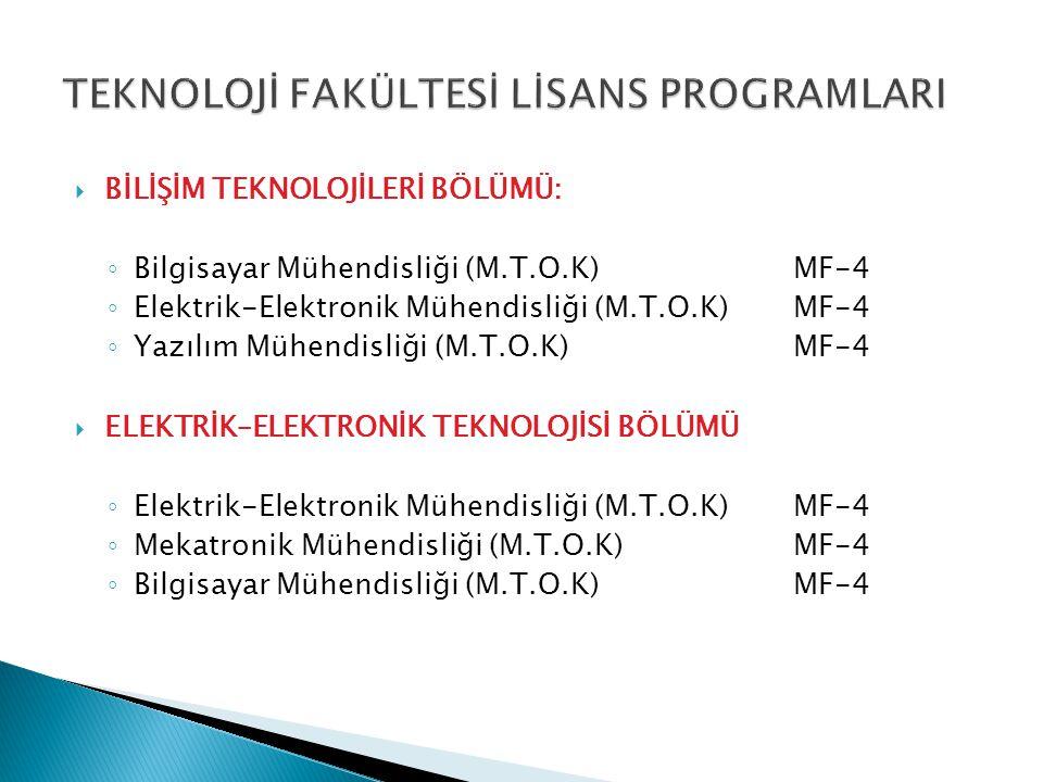  BİLİŞİM TEKNOLOJİLERİ BÖLÜMÜ: ◦ Bilgisayar Mühendisliği (M.T.O.K)MF-4 ◦ Elektrik-Elektronik Mühendisliği (M.T.O.K)MF-4 ◦ Yazılım Mühendisliği (M.T.O.K)MF-4  ELEKTRİK–ELEKTRONİK TEKNOLOJİSİ BÖLÜMÜ ◦ Elektrik-Elektronik Mühendisliği (M.T.O.K)MF-4 ◦ Mekatronik Mühendisliği (M.T.O.K)MF-4 ◦ Bilgisayar Mühendisliği (M.T.O.K)MF-4