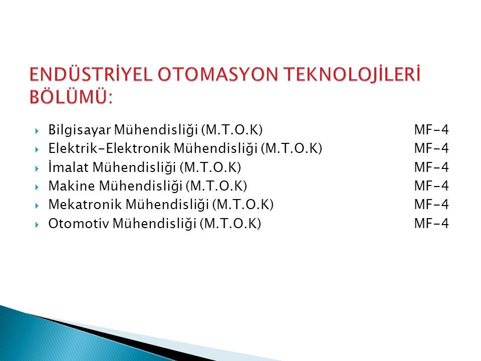 Bilgisayar Mühendisliği (M.T.O.K)MF-4  Elektrik-Elektronik Mühendisliği (M.T.O.K) MF-4  İmalat Mühendisliği (M.T.O.K)MF-4  Makine Mühendisliği (M.T.O.K)MF-4  Mekatronik Mühendisliği (M.T.O.K)MF-4  Otomotiv Mühendisliği (M.T.O.K)MF-4