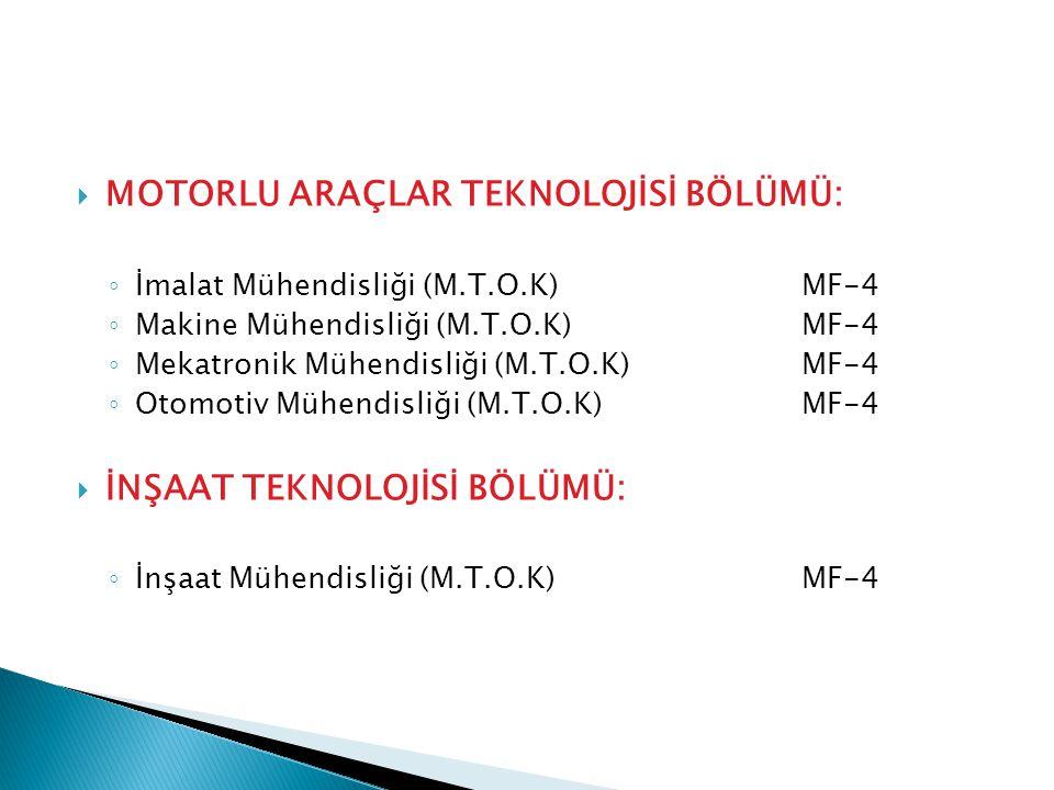  MOTORLU ARAÇLAR TEKNOLOJİSİ BÖLÜMÜ: ◦ İmalat Mühendisliği (M.T.O.K)MF-4 ◦ Makine Mühendisliği (M.T.O.K)MF-4 ◦ Mekatronik Mühendisliği (M.T.O.K)MF-4