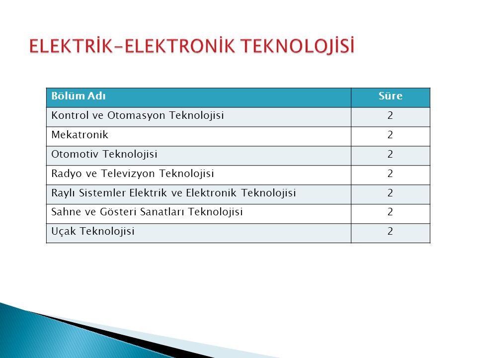 Bölüm AdıSüre Kontrol ve Otomasyon Teknolojisi2 Mekatronik2 Otomotiv Teknolojisi2 Radyo ve Televizyon Teknolojisi2 Raylı Sistemler Elektrik ve Elektronik Teknolojisi2 Sahne ve Gösteri Sanatları Teknolojisi2 Uçak Teknolojisi2