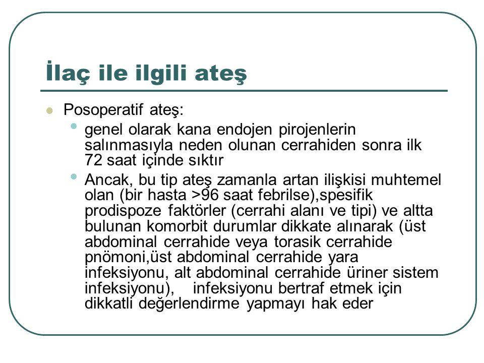 İlaç ile ilgili ateş Posoperatif ateş: genel olarak kana endojen pirojenlerin salınmasıyla neden olunan cerrahiden sonra ilk 72 saat içinde sıktır Ancak, bu tip ateş zamanla artan ilişkisi muhtemel olan (bir hasta >96 saat febrilse),spesifik prodispoze faktörler (cerrahi alanı ve tipi) ve altta bulunan komorbit durumlar dikkate alınarak (üst abdominal cerrahide veya torasik cerrahide pnömoni,üst abdominal cerrahide yara infeksiyonu, alt abdominal cerrahide üriner sistem infeksiyonu), infeksiyonu bertraf etmek için dikkatli değerlendirme yapmayı hak eder