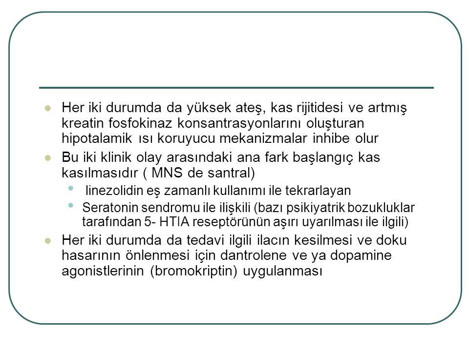 Her iki durumda da yüksek ateş, kas rijitidesi ve artmış kreatin fosfokinaz konsantrasyonlarını oluşturan hipotalamik ısı koruyucu mekanizmalar inhibe olur Bu iki klinik olay arasındaki ana fark başlangıç kas kasılmasıdır ( MNS de santral) linezolidin eş zamanlı kullanımı ile tekrarlayan Seratonin sendromu ile ilişkili (bazı psikiyatrik bozukluklar tarafından 5- HTIA reseptörünün aşırı uyarılması ile ilgili) Her iki durumda da tedavi ilgili ilacın kesilmesi ve doku hasarının önlenmesi için dantrolene ve ya dopamine agonistlerinin (bromokriptin) uygulanması