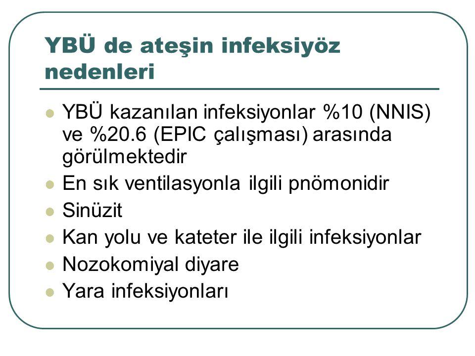 YBÜ de ateşin infeksiyöz nedenleri YBÜ kazanılan infeksiyonlar %10 (NNIS) ve %20.6 (EPIC çalışması) arasında görülmektedir En sık ventilasyonla ilgili pnömonidir Sinüzit Kan yolu ve kateter ile ilgili infeksiyonlar Nozokomiyal diyare Yara infeksiyonları