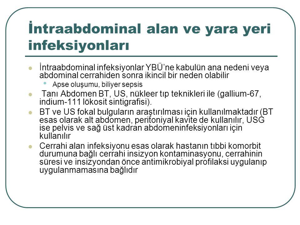 İntraabdominal alan ve yara yeri infeksiyonları İntraabdominal infeksiyonlar YBÜ'ne kabulün ana nedeni veya abdominal cerrahiden sonra ikincil bir neden olabilir Apse oluşumu, biliyer sepsis Tanı Abdomen BT, US, nükleer tıp teknikleri ile (gallium-67, indium-111 lökosit sintigrafisi).