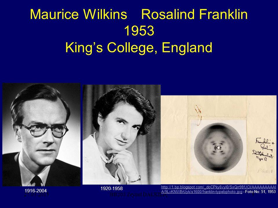 27.03.20156 James Watson Francis Crick 1953 Cambridge University, England BB203 Zeynel DALKILIÇ 1928-1916-2004