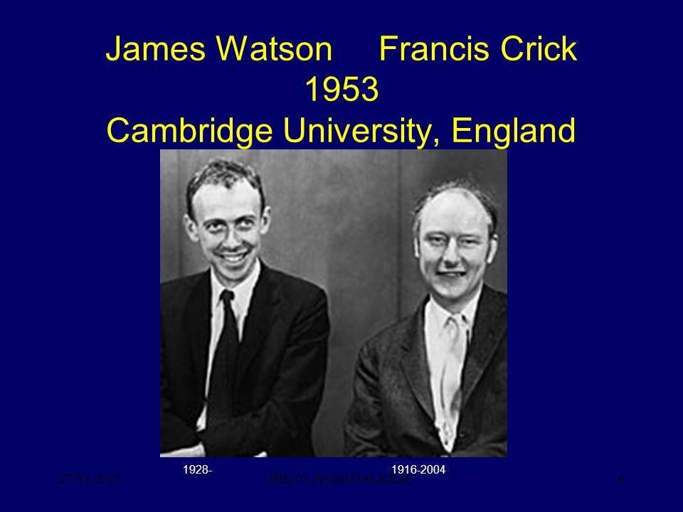 27.03.20156 James Watson Francis Crick 1953 Cambridge University, England BB203 Zeynel DALKILIÇ 1928-1916-2004
