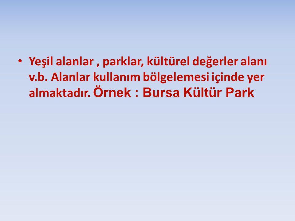 Yeşil alanlar, parklar, kültürel değerler alanı v.b. Alanlar kullanım bölgelemesi içinde yer almaktadır. Örnek : Bursa Kültür Park