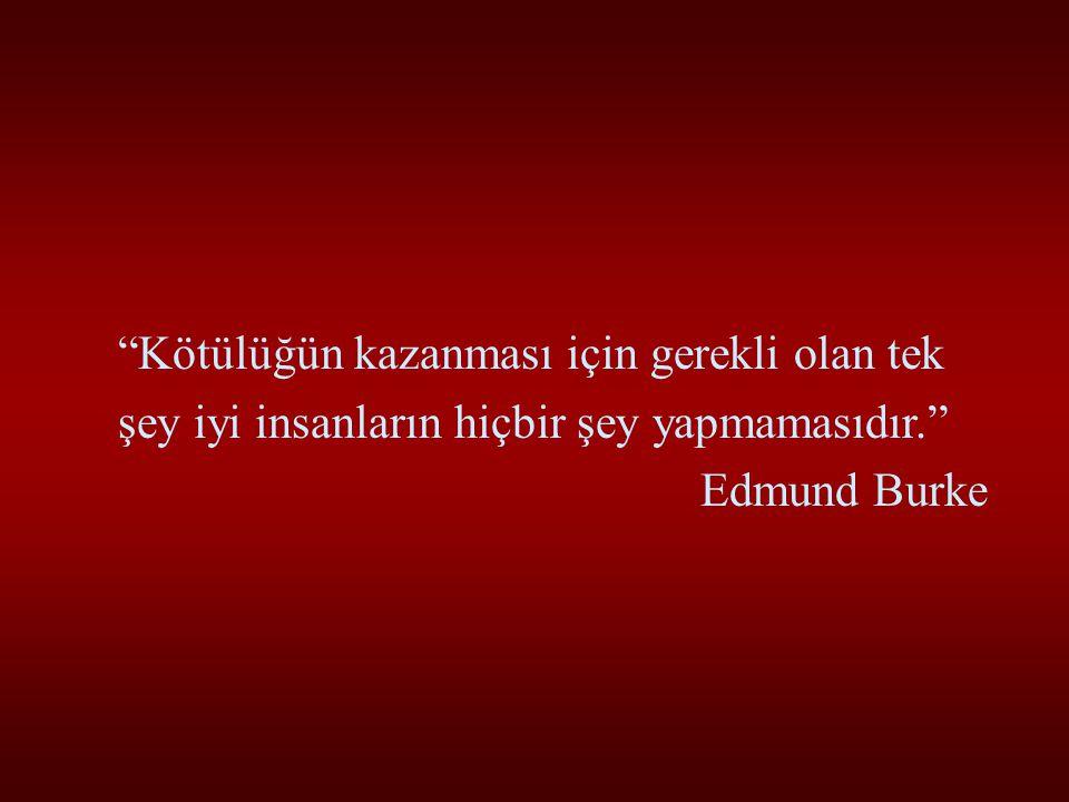 Kötülüğün kazanması için gerekli olan tek şey iyi insanların hiçbir şey yapmamasıdır. Edmund Burke