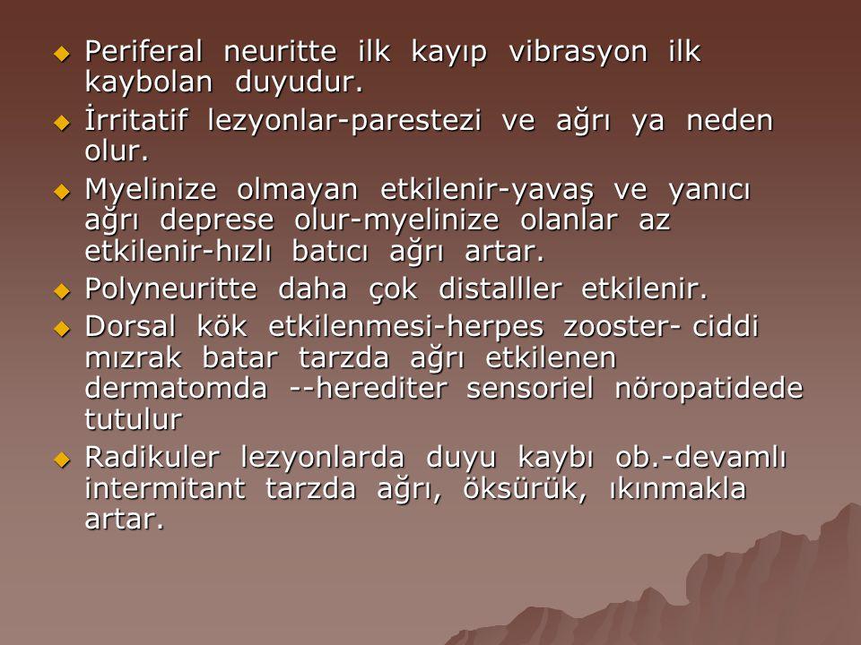  Periferal neuritte ilk kayıp vibrasyon ilk kaybolan duyudur.  İrritatif lezyonlar-parestezi ve ağrı ya neden olur.  Myelinize olmayan etkilenir-ya