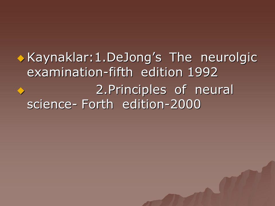  Kaynaklar:1.DeJong's The neurolgic examination-fifth edition 1992  2.Principles of neural science- Forth edition-2000