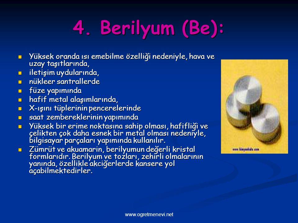 www.ogretmenevi.net 4. Berilyum (Be): Yüksek oranda ısı emebilme özelliği nedeniyle, hava ve uzay taşıtlarında, Yüksek oranda ısı emebilme özelliği ne