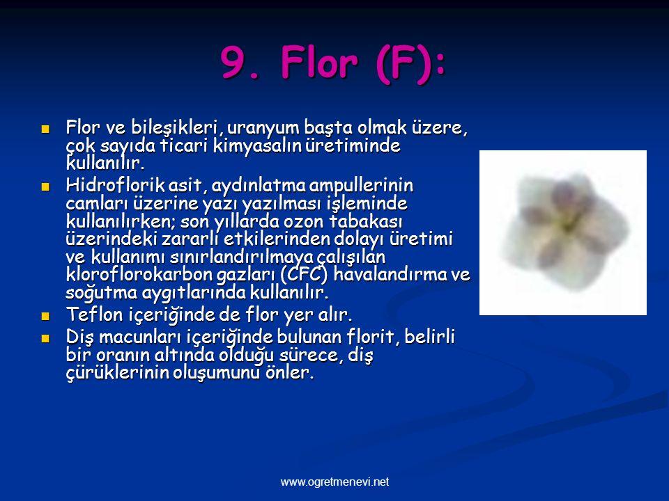 www.ogretmenevi.net 9. Flor (F): Flor ve bileşikleri, uranyum başta olmak üzere, çok sayıda ticari kimyasalın üretiminde kullanılır. Flor ve bileşikle