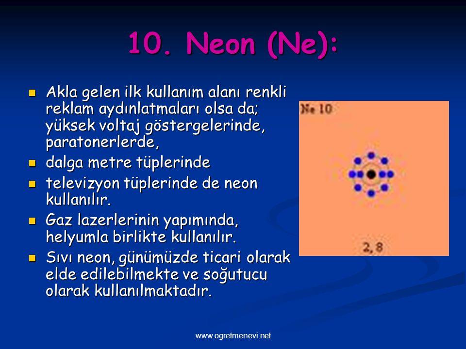 www.ogretmenevi.net 10. Neon (Ne): Akla gelen ilk kullanım alanı renkli reklam aydınlatmaları olsa da; yüksek voltaj göstergelerinde, paratonerlerde,