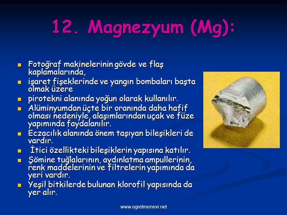www.ogretmenevi.net 12. Magnezyum (Mg): Fotoğraf makinelerinin gövde ve flaş kaplamalarında, Fotoğraf makinelerinin gövde ve flaş kaplamalarında, işar