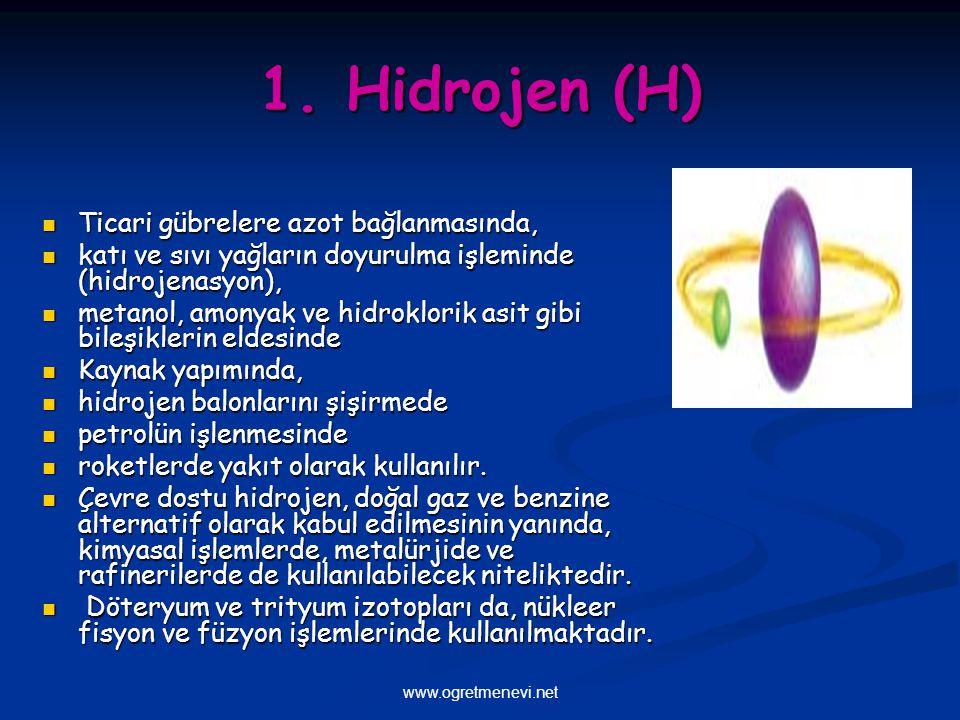 www.ogretmenevi.net 1. Hidrojen (H) Ticari gübrelere azot bağlanmasında, Ticari gübrelere azot bağlanmasında, katı ve sıvı yağların doyurulma işlemind