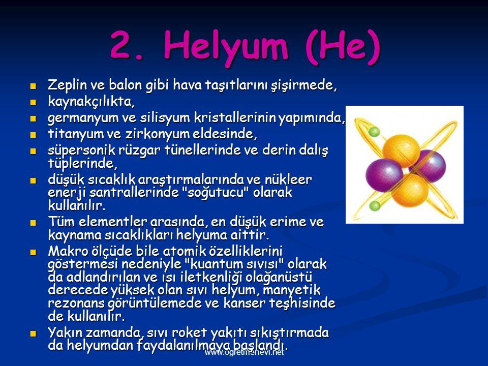 www.ogretmenevi.net 2. Helyum (He) Zeplin ve balon gibi hava taşıtlarını şişirmede, Zeplin ve balon gibi hava taşıtlarını şişirmede, kaynakçılıkta, ka