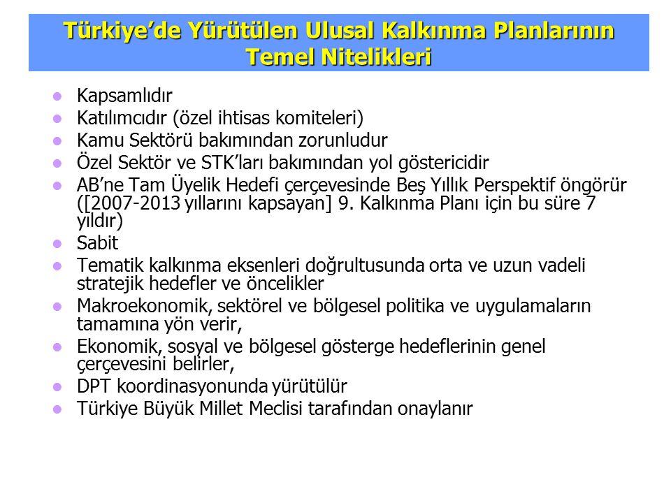 Türkiye'de Yürütülen Ulusal Kalkınma Planlarının Temel Nitelikleri Kapsamlıdır Katılımcıdır (özel ihtisas komiteleri) Kamu Sektörü bakımından zorunlud