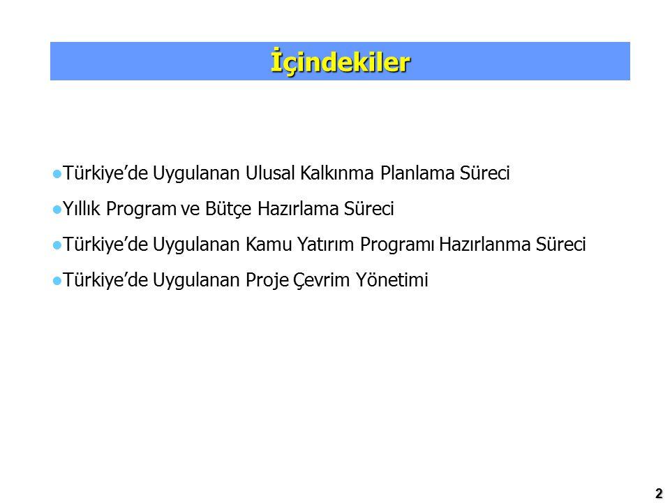 2 İçindekiler Türkiye'de Uygulanan Ulusal Kalkınma Planlama Süreci Yıllık Program ve Bütçe Hazırlama Süreci Türkiye'de Uygulanan Kamu Yatırım Programı