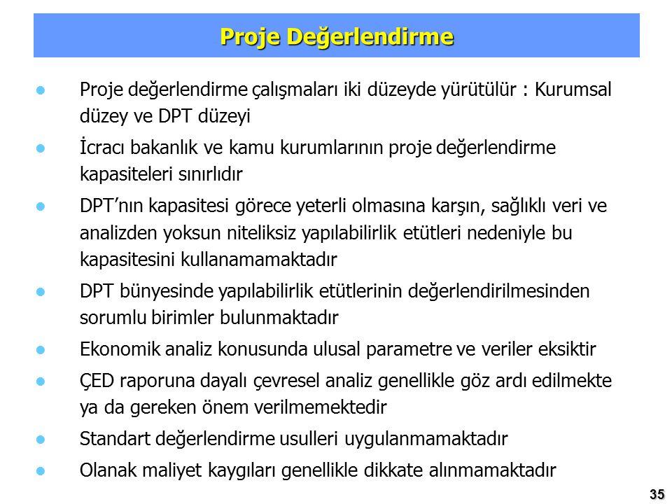 35 Proje Değerlendirme Proje değerlendirme çalışmaları iki düzeyde yürütülür : Kurumsal düzey ve DPT düzeyi İcracı bakanlık ve kamu kurumlarının proje