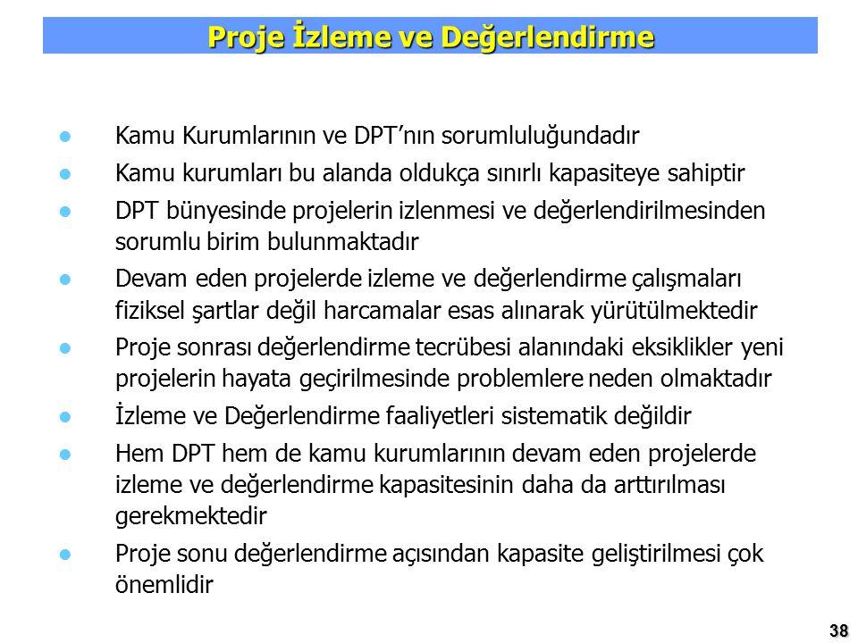 38 Proje İzleme ve Değerlendirme Kamu Kurumlarının ve DPT'nın sorumluluğundadır Kamu kurumları bu alanda oldukça sınırlı kapasiteye sahiptir DPT bünye