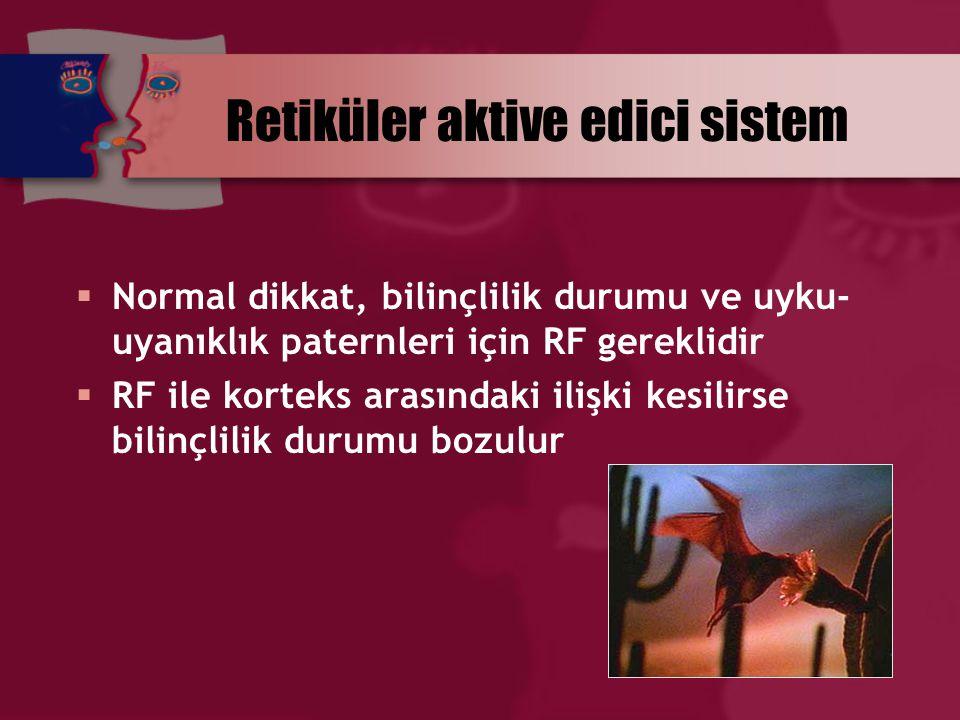 Retiküler aktive edici sistem  Normal dikkat, bilinçlilik durumu ve uyku- uyanıklık paternleri için RF gereklidir  RF ile korteks arasındaki ilişki